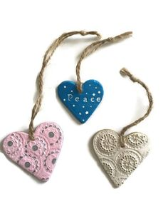 Excited to share the latest addition to my shop: Clay Christmas tree decoration , air dry clay hanging ornaments / tags in blue, white and pink, set of gift for friends stocking filler Etsy Christmas, Christmas Makes, Christmas Tree, Christmas Ideas, Handmade Shop, Etsy Handmade, Handmade Crafts, Clay Crafts, Clay Projects