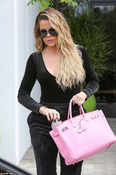 Khloe Kardashian highlights svelte physique in plunging black outfit Hermes Bags, Hermes Handbags, Hermes Birkin, Koko Kardashian, Kim And Kourtney, Classy Women, Cloth Bags, Casual, Outfits