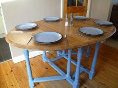 Vintage Solid Oak Oval Gate Leg Drop Leaf Dining by SunflowerLou