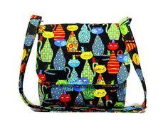 Cat Purse in Multi Color Small Messenger Bag di JHFabricCreations
