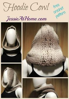 Hoodie Cowl free #crochet pattern - one skein project great for quick Christmas crafting