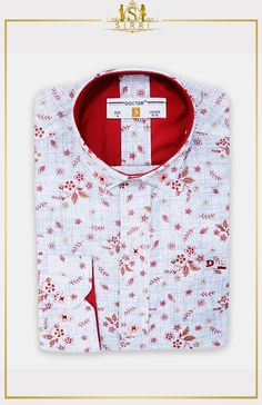 Doctor Junior Boys Slim fit Seamless Floral Patterned Blue & Red Shirt This red flower print shirt will surely add a little pop of colour to any plain coloured suit. With its flower print pattern and Boys Wedding Suits, Kids Suits, Red Shirt, Boys Shirts, Print Patterns, Floral Patterns, Color Pop, Colour, Red Flowers