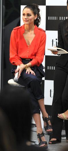 Olivia Palermo wearing Tibi Belt, Asos Ring, Tibi Blouse, Kurt Geiger Carvela Gost Sandals and Tibi Draped Bow Pants.