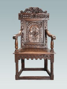 Early 17th century Gloucestershire carved oak armchair, circa 1630, Marhamchurch antiques