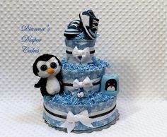 Penguin Baby Shower Cakes   Baby Diaper Cake Penguin Shower Gift Centerpiece Newborn Present ...