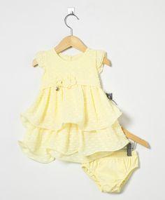 Vestido Bebê com Tapa Fralda Amarelo