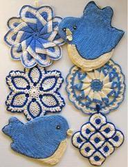 Vintage Blues Potholder Crochet Pattern