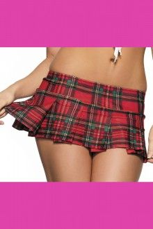 Red Pleated Plaid School Girl Skirt