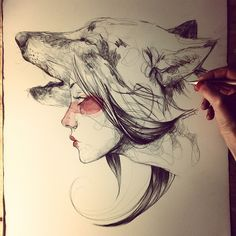 35 New ideas for tattoo wolf desing spirit animal princess mononoke Paula Bonet, Drawing Sketches, Art Drawings, Sketch Art, Pencil Drawings, Sketching, Arte Sketchbook, Bild Tattoos, Watercolor Sketch