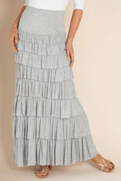 Amazingly adorable tiered knit skirt -Hope for a SALE! Modest Dresses, Modest Outfits, Modest Fashion, Skirt Fashion, Fashion Outfits, Womens Fashion, Apostolic Fashion, Maxi Dresses, Long Skirts For Women