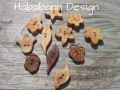 Wooden flower buttons. Wooden Flowers, Button Flowers, Buttons, Handmade, Food, Hand Made, Wood Flowers, Essen, Craft
