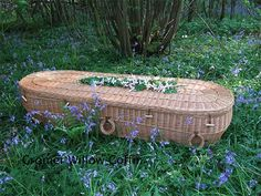 A wicker casket - many people are choosing to have a 'green burial'. Special cemetaries are set up for those who do not want to be embalmed and choose to be buried in biodegradable caskets such as this wicker model.