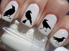 41 Nail Decals - Black RAVENS / CROW Familiar Symbols Nail Art Water Slide Transfers BIRDS Nail Stickers Wraps