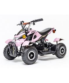 Rosso Motors Kids ATV Kids Quad 4 Wheeler Ride On with 36V Battery Electric Power Lights in Pink Motorcycle for Girls