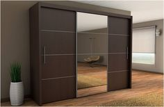 Inova Sliding Door Wardrobe Wenge Dark Brown 250cm - By Furniture Factor: Amazon.co.uk: Kitchen & Home