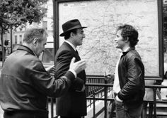 Claude Sautet, Michel Piccoli and Bernard Fresson on the set of Max et les ferrailleurs, 1971