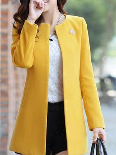 Lutratocro Womens Crewneck Wool-Blended Jacket Outwear Autumn Open Front Trench Coat Yellow S Best Winter Coats for Women USA Winter Coats Women, Coats For Women, Jackets For Women, Clothes For Women, Mode Adidas, Look Fashion, Fashion Outfits, Trench Coat Outfit, Look Blazer