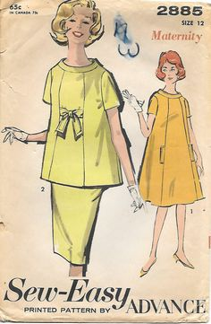 Advance 2885-1960s Maternity Dress Tunic Vintage Sewing Pattern, offered on Etsy by GrandmaMadeWithLove