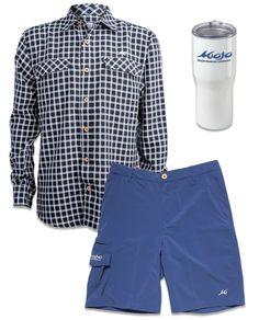 4e66052a0a Coastal Plaid Long Sleeve, Stretch Fit Performance Shorts. Mojo Sportswear  Tumbler Fishing Shirts,