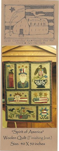 SALE - Primitive Folk Art Wool Applique Quilt Pattern:  SPIRIT of AMERICA    Eight (8) Patterns for Block Quilt on Etsy, $25.00