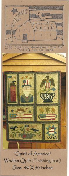 Primitive Folk Art Wool Applique Quilt Pattern  by PrimFolkArtShop, $37.50
