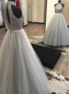 Beading Halter Tulle Prom Dresses 2017