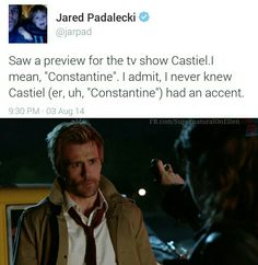 Ha. I like that Castiel's look was based off of Constantine.