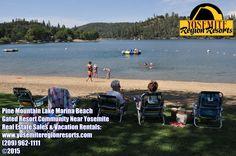 Pine Mountain Lake summertime fun at the Marina Beach! Near Yosemite! Real estate sales & vacation rentals. www.yosemiteregionresorts.com