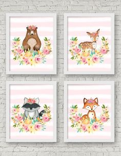 Woodland Nursery Wall Art Set of 4 8x10 by SweetCarolinesStudio