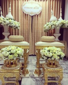 Thai Water Blessing Ceremony Setup - Tables, chairs, and flower vases will be provided by Supattra's temple