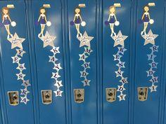 cheerleading locker decorations. Cheer locker decorations made using Cricut Explore Air and Paper Doll Teen  Scene cartridge Senior Cheerleader Locker decor gifts Pinterest