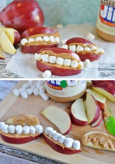 Kid's FUN Teeth & Mouth Snack | Click Pic for 42 Halloween Party Food Ideas for Kids to Make | Easy Halloween Treats for Kids To Make