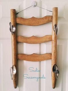 salvaged ladder back scarf rack, crafts, diy, organizing, repurposing upcycling, storage ideas