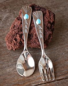 BABY SPOON AND FORK SET WITH TURQUOISE by HARRISON YAZZIE - NAVAJO