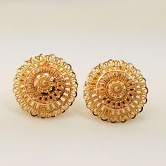 Solid Gold Earrings Jewelry Ornament Stud Screw Back 24k Gold Jewelry, Gold Jhumka Earrings, Gold Jewelry Simple, Gold Bangles, Jewellery Earrings, Big Earrings, Men's Jewelry, Pearl Jewelry, Indian Jewelry