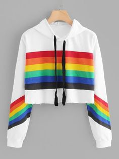 Women Teen Girls Fashion Turn-Down Collar Crop Top Sweatshirt Long Sleeve Color Block Pullover Shirts Teenager Outfits, Girl Outfits, Fashion Outfits, Tomboy Outfits, Emo Outfits, Rainbow Outfit, Rainbow Clothes, Pride Outfit, Fleece Pajamas