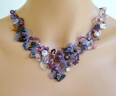 OOAK freeform peyote necklace - beadwoven beaded seed bead jewelry - MORNING GLORY
