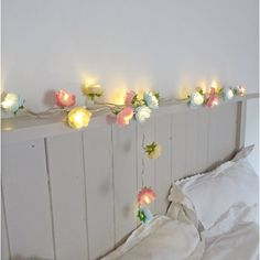Rose Fairy Lights in Pale Blue Pink and Parchment por PamelaAngus