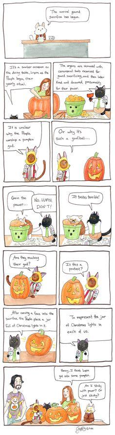Cat News - pumpkin carving - The annual gourd sacrifice has begun. Calvin And Hobbes, Political Cartoons, Gourds, Comic Strips, Pumpkin Carving, Christmas Lights, Holiday Fun, Funny Animals, Activities For Kids