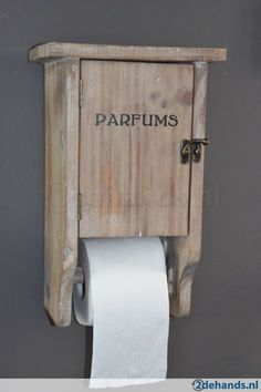 Toiletrolhouder kastje hout wc rolhouder landelijk - Te koop