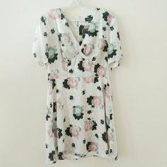 Topshop grey, black, pink floral dress Beautiful spring colors, lightweight and versatile Topshop Dresses