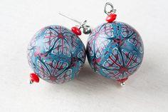 Polymer clay earrings kaleidoscope pattern in blue by CookOnStrike, $16.20