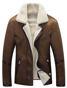Vestes en Cuir Hommes,Couleur Pleine Grandes Tailles Vintage Manches  Longues Col en V Noir ab5919f5819