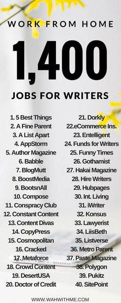 1000+ Work at Home Job Leads for Writers (Make $15-$500 an Article) | Work at Home with Me