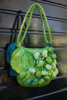 Shibori felt bag by sassafrasdesign, via Flickr