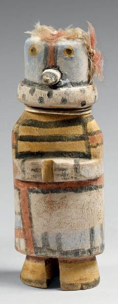 Kachina au regard de hibou Hopi, Arizona, U.S.A. Bois, pigments, laine,