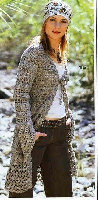 Crochet long cardigan, jacket