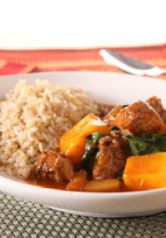 KRAFT RECIPE MAKERS Hawaiian Pineapple-Pork Stew – Boneless pork shoulder and pineapple tidbits cook to sweet, tender perfection in this crowd-pleasing slow-cooker stew.