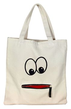 Tote Bag - Googly Eye Zipper Tote Say goodbye to plastic bags with this cool handprinted shopping tote in cotton. * Comes with a fun zipper mouth pocket * Spot clean only. Sacs Tote Bags, Diy Tote Bag, Cotton Tote Bags, Canvas Tote Bags, Reusable Tote Bags, Canvas Totes, Canvas Purse, Canvas Handbags, Diy Bags