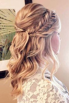Are you interested in the new formal hairstyles for medium hair trends? Then che… Are you interested in the new formal hairstyles for medium hair trends? Then check out our photo gallery and find the most complimenting styles. Medium Long Hair, Medium Hair Styles, Curly Hair Styles, Bridal Hair Half Up Medium, Medium Hair Wedding Styles, Long Bridal Hair, My Hairstyle, Blonde Hairstyles, Prom Hairstyles For Medium Hair